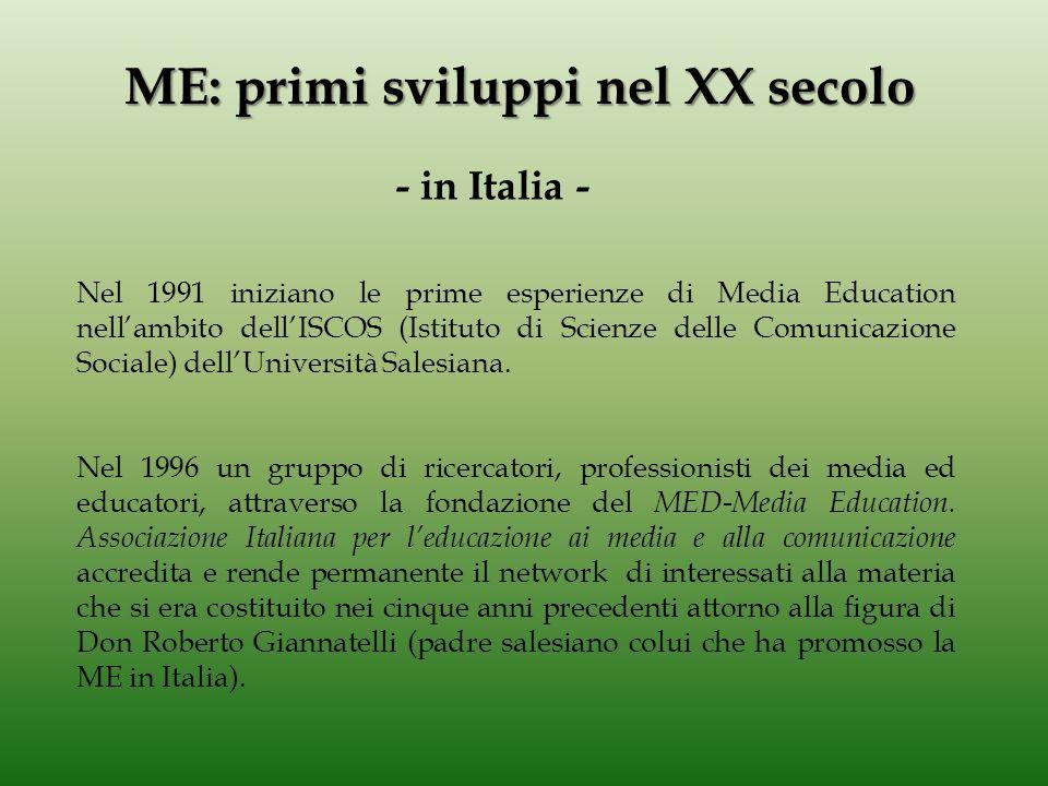 Il termine MEDIA EDUCATION appare sullo scenario mondiale all'inizio degli anni '70.