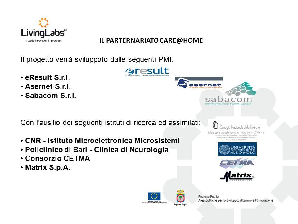IL PARTERNARIATO CARE@HOME Con l'ausilio dei seguenti istituti di ricerca ed assimilati: CNR - Istituto Microelettronica Microsistemi Policlinico di Bari - Clinica di Neurologia Consorzio CETMA Matrix S.p.A.