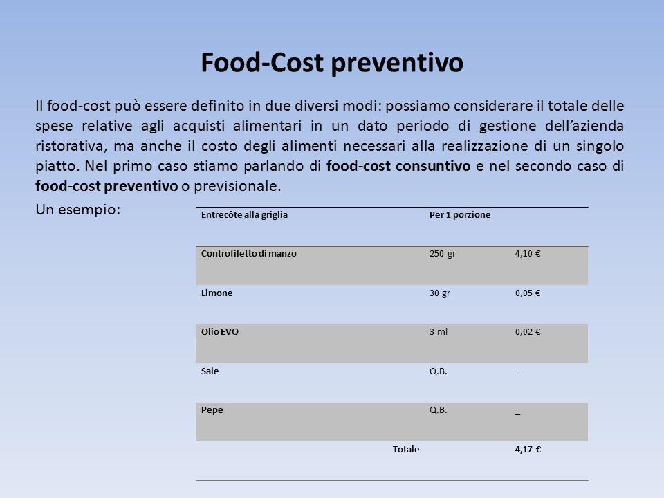 Food-Cost preventivo Il food-cost può essere definito in due diversi modi: possiamo considerare il totale delle spese relative agli acquisti alimentari in un dato periodo di gestione dell'azienda ristorativa, ma anche il costo degli alimenti necessari alla realizzazione di un singolo piatto.