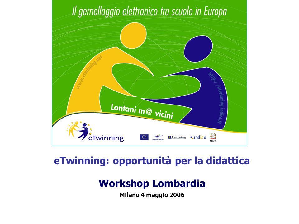 eTwinning: opportunità per la didattica Workshop Lombardia Milano 4 maggio 2006