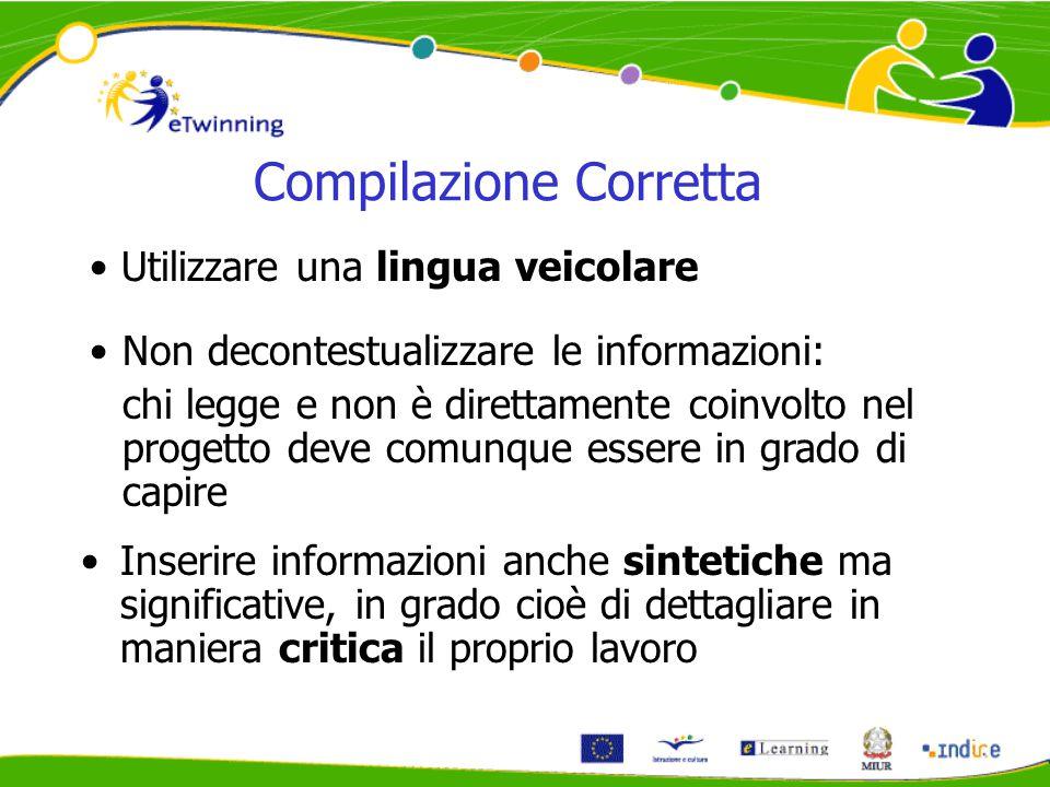 Compilazione Corretta Inserire informazioni anche sintetiche ma significative, in grado cioè di dettagliare in maniera critica il proprio lavoro Utili