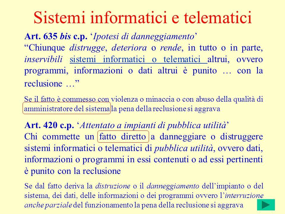 Sistemi informatici e telematici Art. 635 bis c.p.