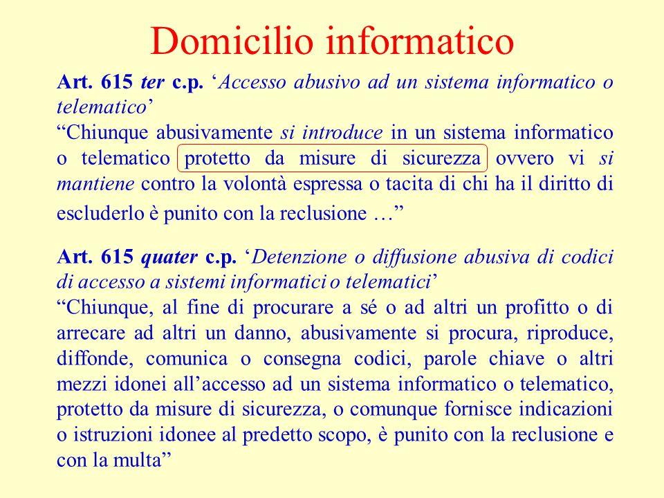 Domicilio informatico Art. 615 ter c.p.