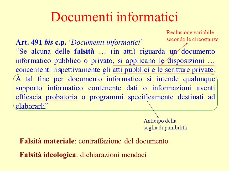 Documenti informatici Art. 491 bis c.p.