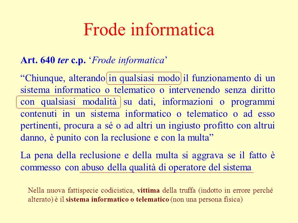 Frode informatica Art. 640 ter c.p.