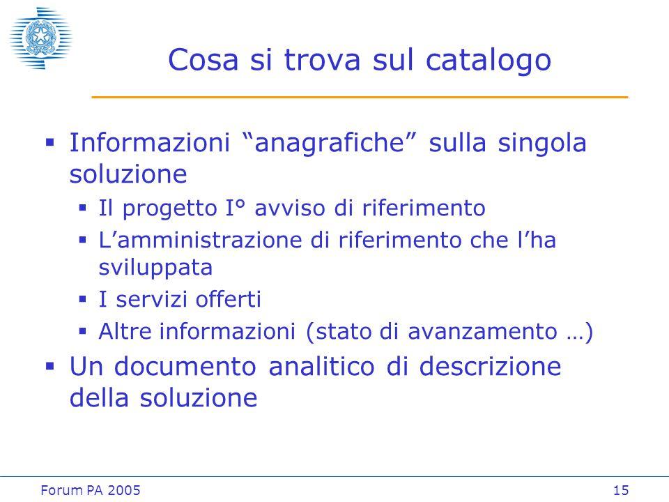 """Forum PA 200515 Cosa si trova sul catalogo  Informazioni """"anagrafiche"""" sulla singola soluzione  Il progetto I° avviso di riferimento  L'amministraz"""
