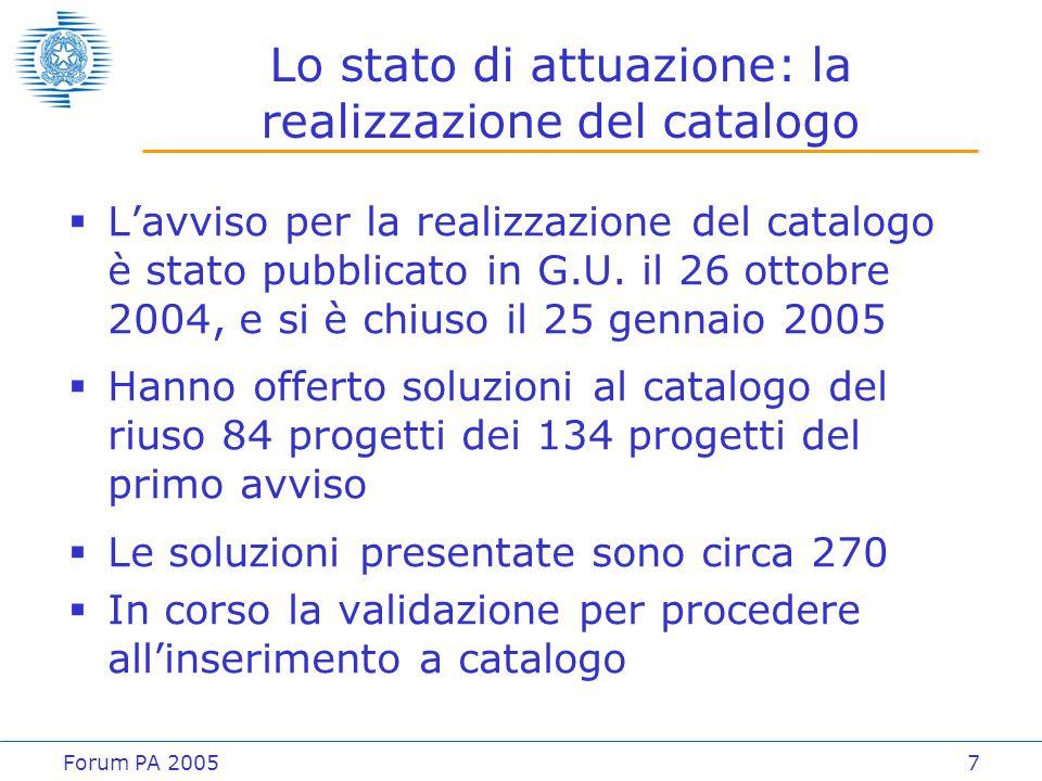Forum PA 20057 Lo stato di attuazione: la realizzazione del catalogo  L'avviso per la realizzazione del catalogo è stato pubblicato in G.U. il 26 ott