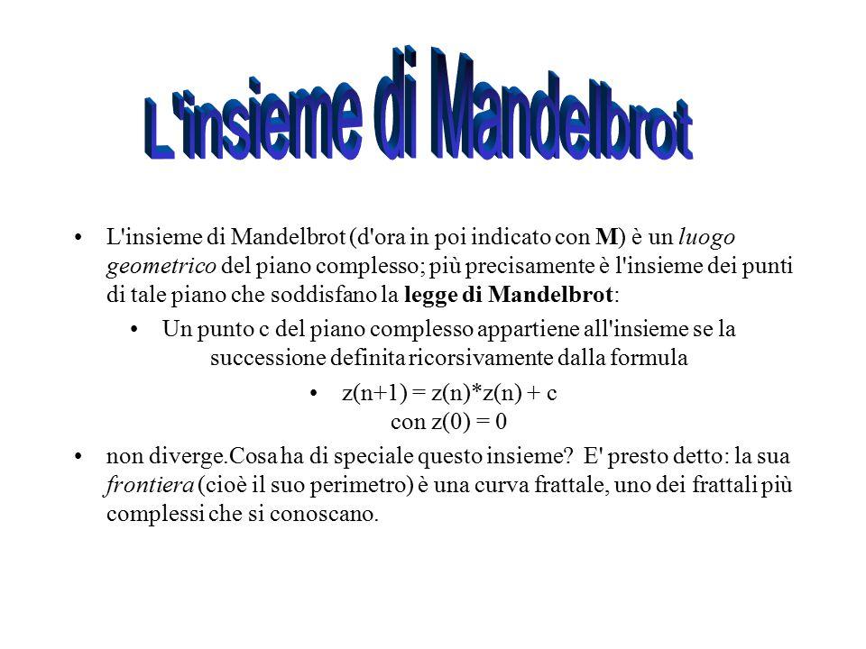L'insieme di Mandelbrot (d'ora in poi indicato con M) è un luogo geometrico del piano complesso; più precisamente è l'insieme dei punti di tale piano