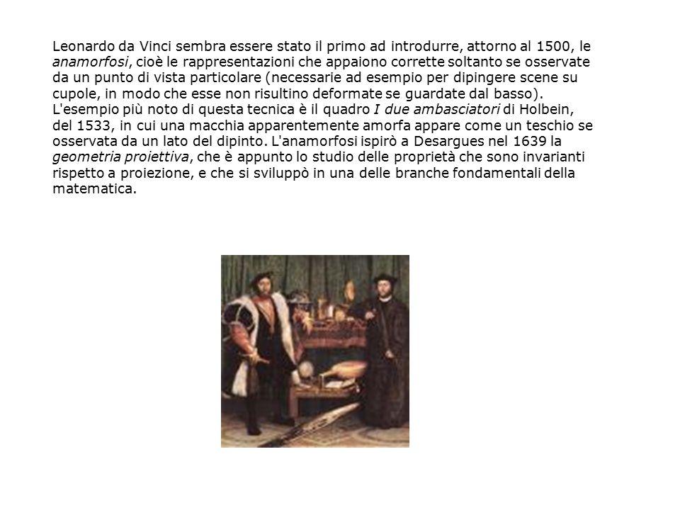 Leonardo da Vinci sembra essere stato il primo ad introdurre, attorno al 1500, le anamorfosi, cioè le rappresentazioni che appaiono corrette soltanto
