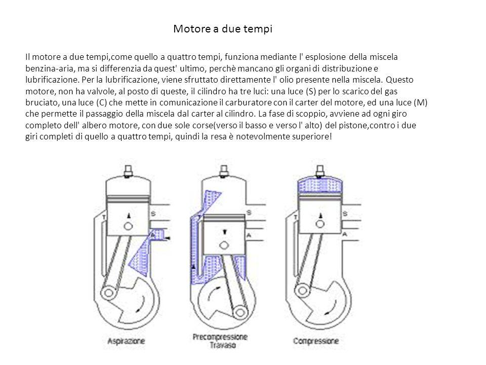 Motore a due tempi Il motore a due tempi,come quello a quattro tempi, funziona mediante l' esplosione della miscela benzina-aria, ma si differenzia da