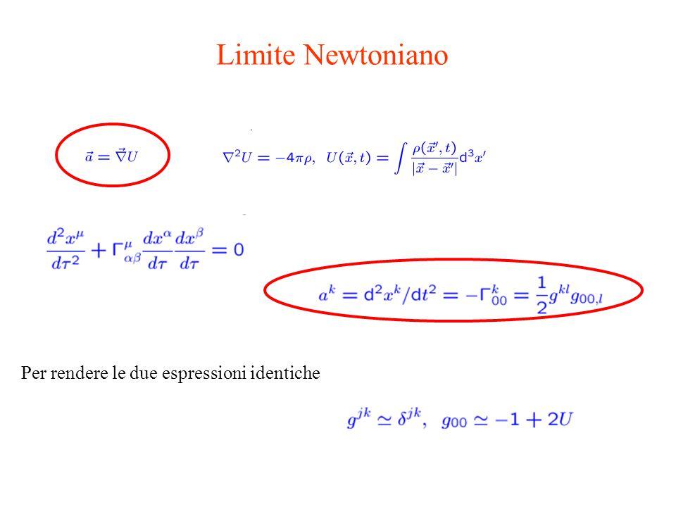 Limite Newtoniano Per rendere le due espressioni identiche