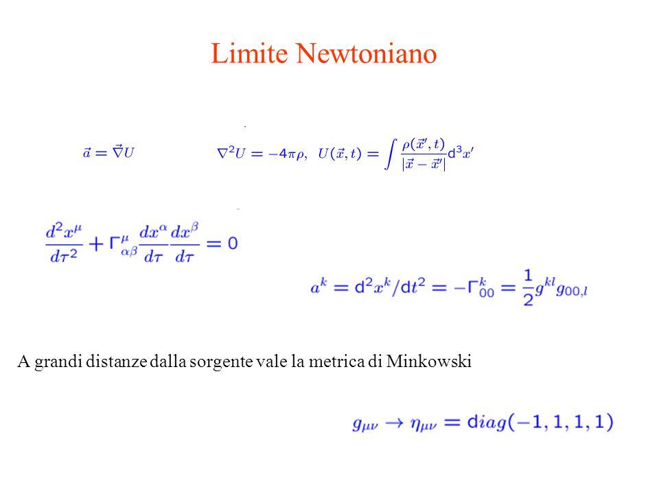 A grandi distanze dalla sorgente vale la metrica di Minkowski Limite Newtoniano