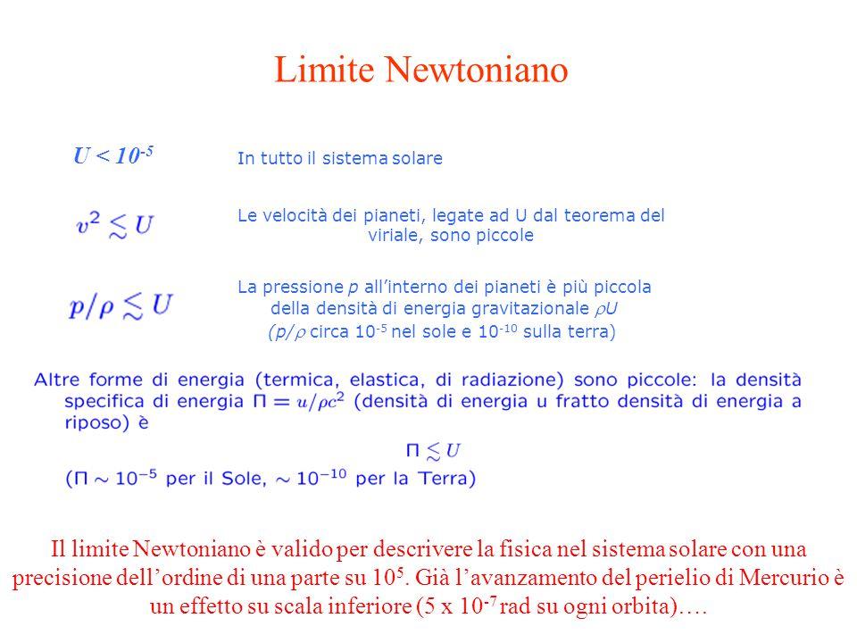 Il limite Newtoniano è valido per descrivere la fisica nel sistema solare con una precisione dell'ordine di una parte su 10 5.