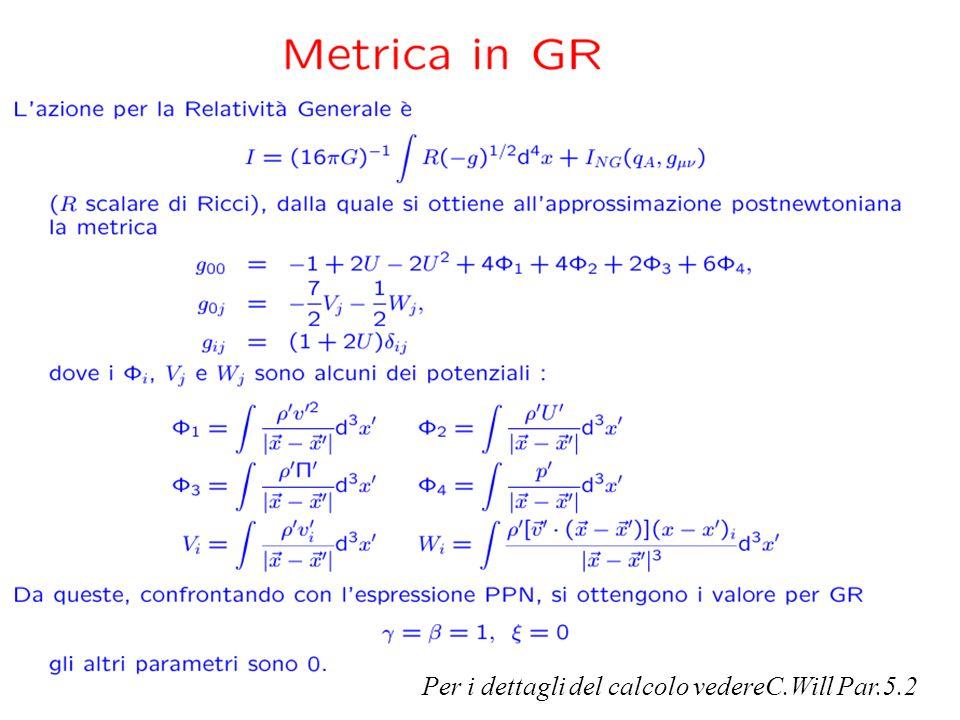 PPN in General Relativity Per i dettagli del calcolo vedereC.Will Par.5.2
