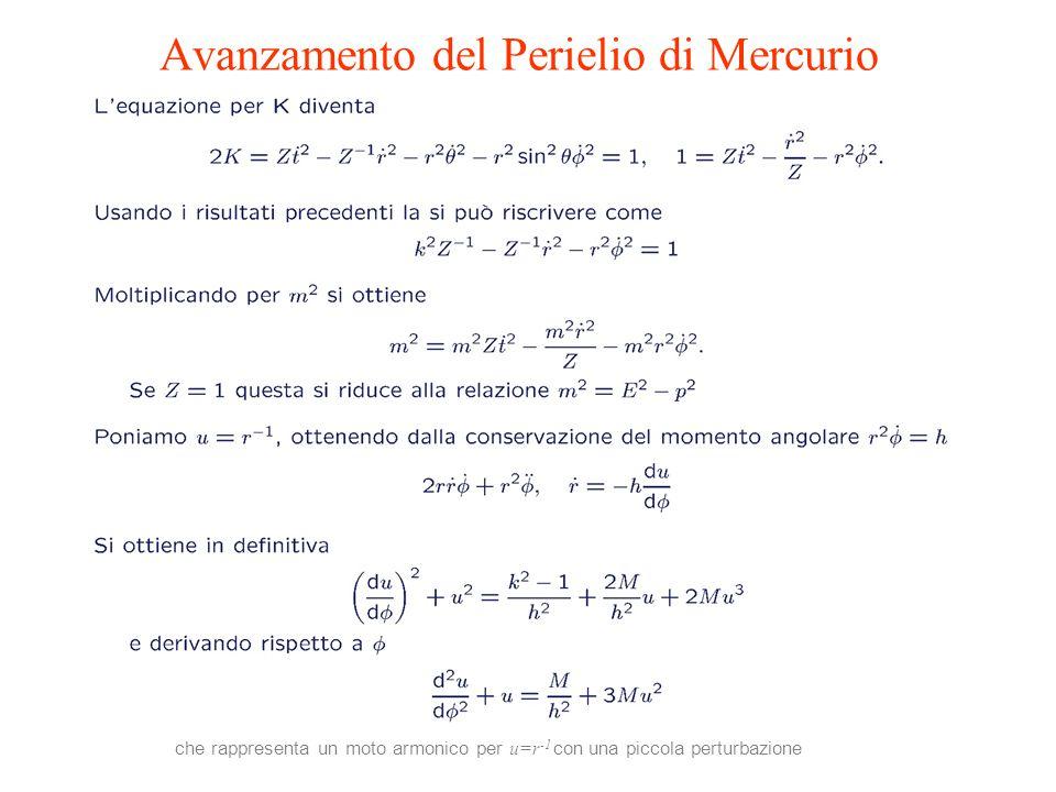 che rappresenta un moto armonico per u=r -1 con una piccola perturbazione Avanzamento del Perielio di Mercurio