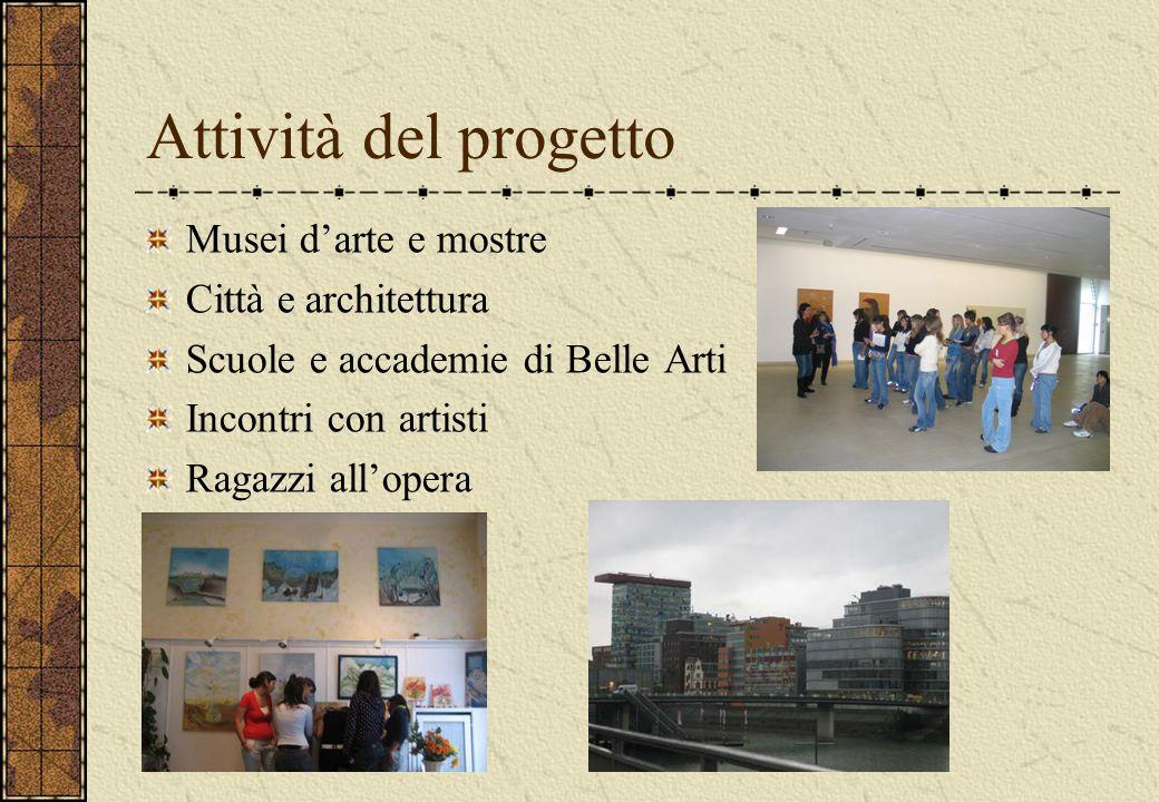 Attività del progetto Musei d'arte e mostre Città e architettura Scuole e accademie di Belle Arti Incontri con artisti Ragazzi all'opera