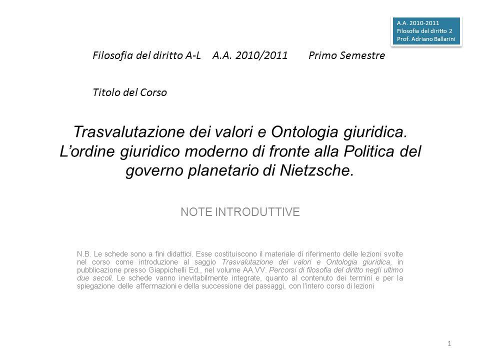 Trasvalutazione dei valori e Ontologia giuridica. L'ordine giuridico moderno di fronte alla Politica del governo planetario di Nietzsche. NOTE INTRODU