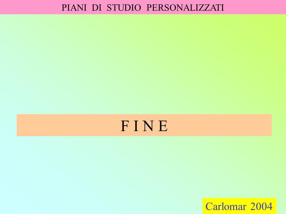 Carlomar 2004 PIANI DI STUDIO PERSONALIZZATI Carlomar 2004 F I N E