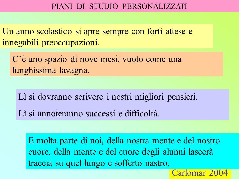 Carlomar 2004 PIANI DI STUDIO PERSONALIZZATI Carlomar 2004 Offerta formativa uguale per tutti.