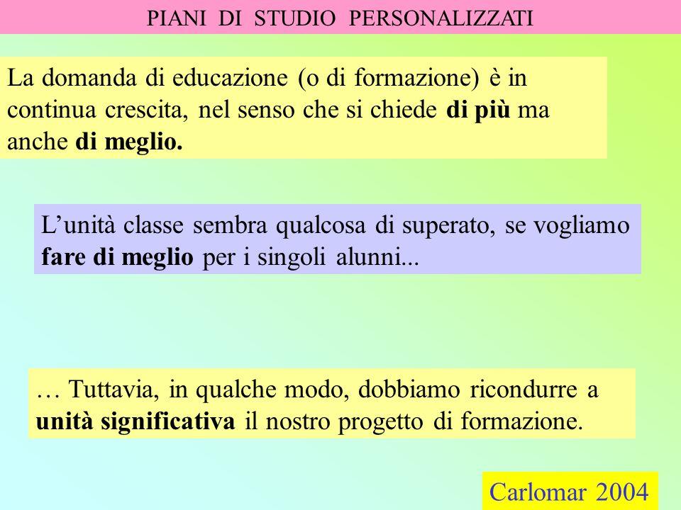 Carlomar 2004 PIANI DI STUDIO PERSONALIZZATI Carlomar 2004 Pari opportunità educative.