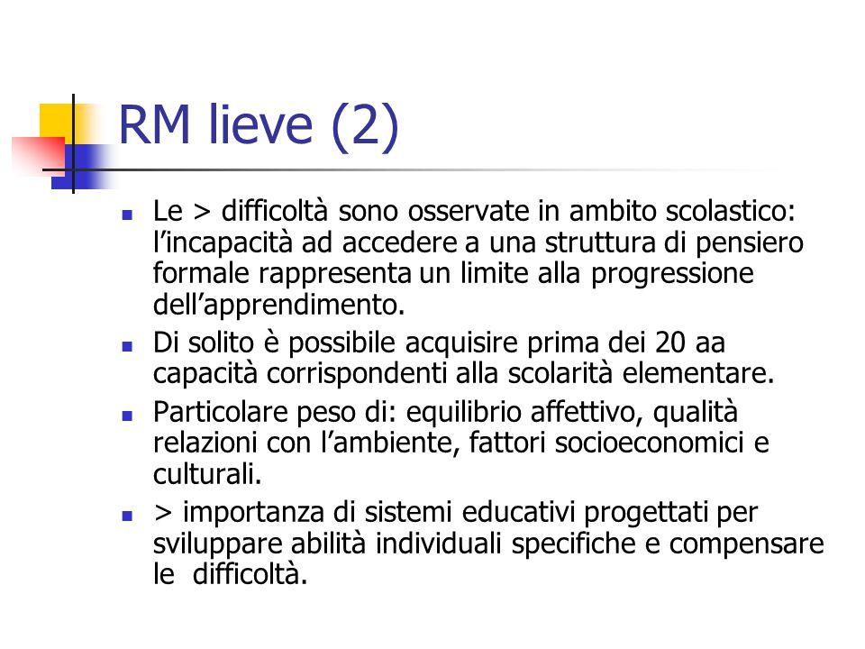 RM lieve (2) Le > difficoltà sono osservate in ambito scolastico: l'incapacità ad accedere a una struttura di pensiero formale rappresenta un limite a