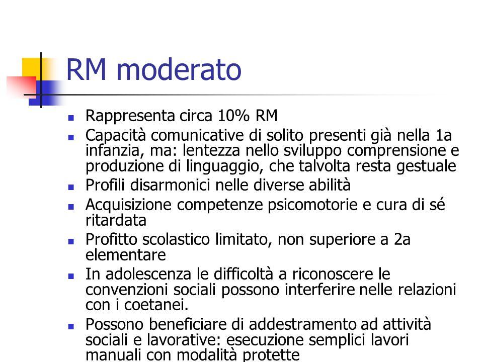 RM moderato Rappresenta circa 10% RM Capacità comunicative di solito presenti già nella 1a infanzia, ma: lentezza nello sviluppo comprensione e produz
