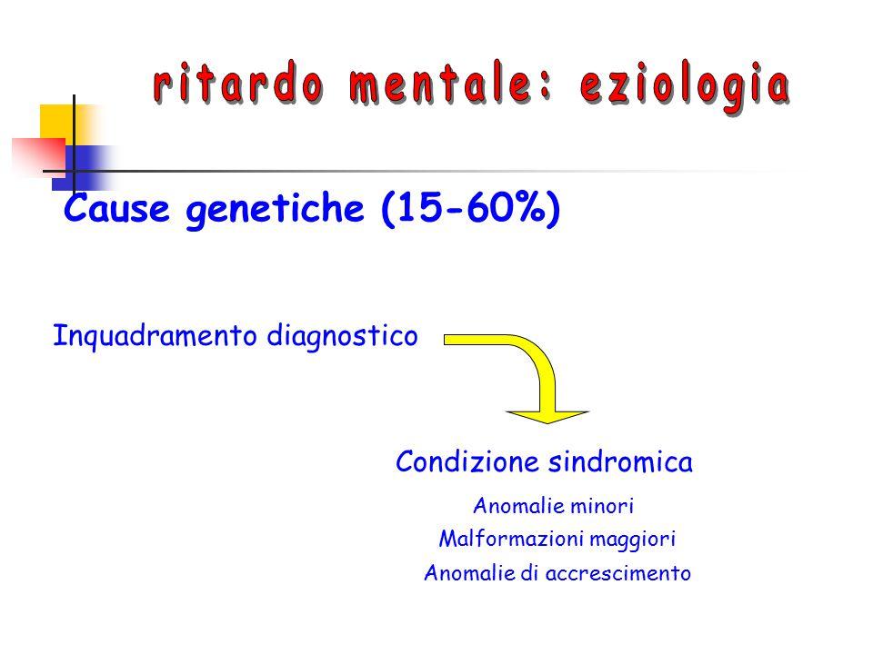 Cause genetiche (15-60%) Inquadramento diagnostico Condizione sindromica Anomalie minori Malformazioni maggiori Anomalie di accrescimento