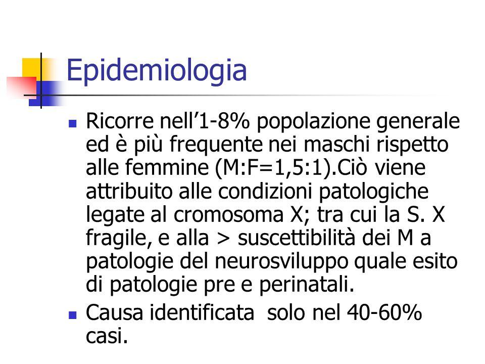 Epidemiologia Ricorre nell'1-8% popolazione generale ed è più frequente nei maschi rispetto alle femmine (M:F=1,5:1).Ciò viene attribuito alle condizi