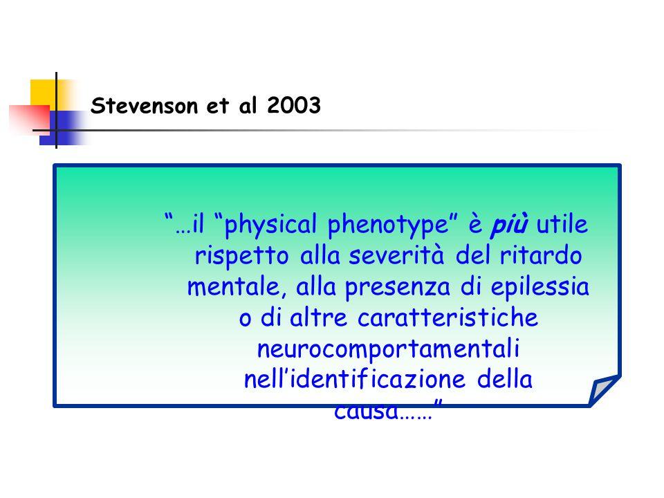 """Stevenson et al 2003 """"…il """"physical phenotype"""" è più utile rispetto alla severità del ritardo mentale, alla presenza di epilessia o di altre caratteri"""