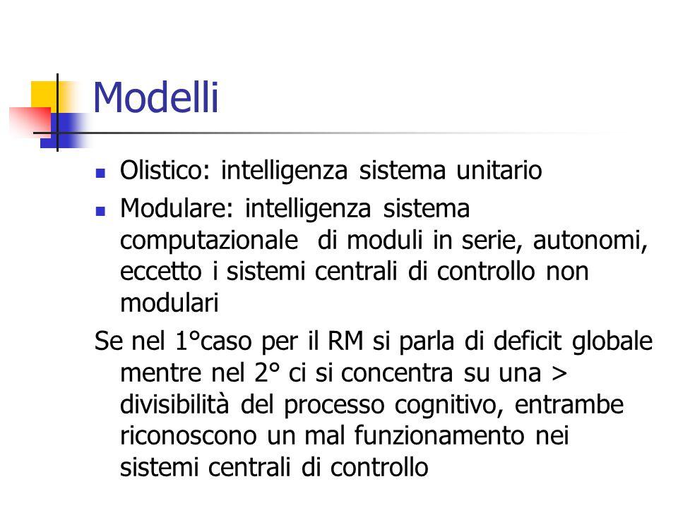 Modelli Olistico: intelligenza sistema unitario Modulare: intelligenza sistema computazionale di moduli in serie, autonomi, eccetto i sistemi centrali