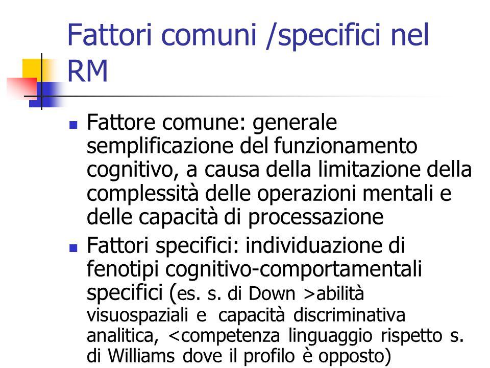 Fattori comuni /specifici nel RM Fattore comune: generale semplificazione del funzionamento cognitivo, a causa della limitazione della complessità del
