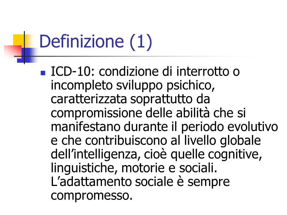 Definizione (1) ICD-10: condizione di interrotto o incompleto sviluppo psichico, caratterizzata soprattutto da compromissione delle abilità che si man
