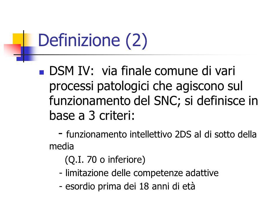 Definizione (2) DSM IV: via finale comune di vari processi patologici che agiscono sul funzionamento del SNC; si definisce in base a 3 criteri: - funz