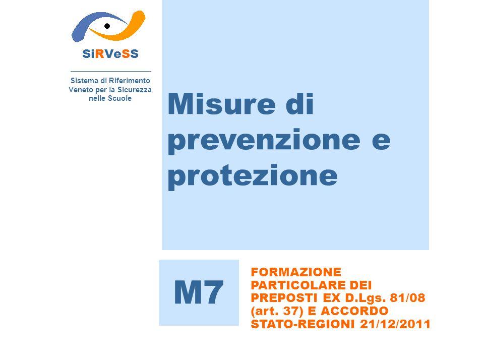 Misure di prevenzione e protezione SiRVeSS Sistema di Riferimento Veneto per la Sicurezza nelle Scuole M7 FORMAZIONE PARTICOLARE DEI PREPOSTI EX D.Lgs