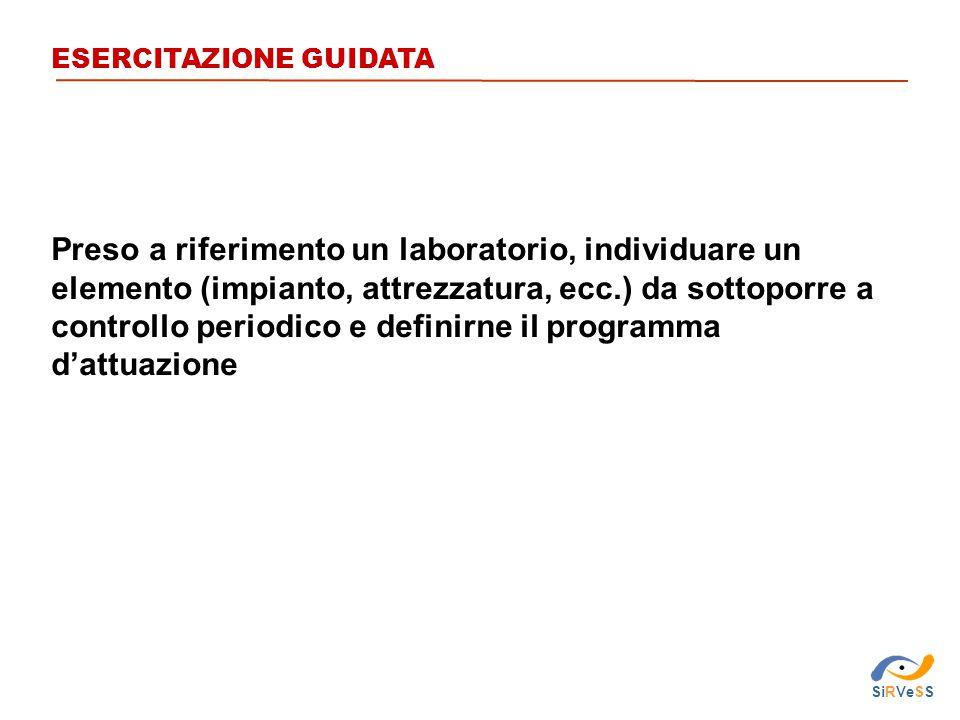 ESERCITAZIONE GUIDATA Preso a riferimento un laboratorio, individuare un elemento (impianto, attrezzatura, ecc.) da sottoporre a controllo periodico e