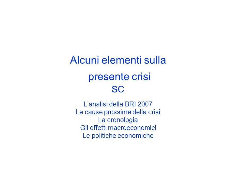 Alcuni elementi sulla presente crisi SC L'analisi della BRI 2007 Le cause prossime della crisi La cronologia Gli effetti macroeconomici Le politiche economiche