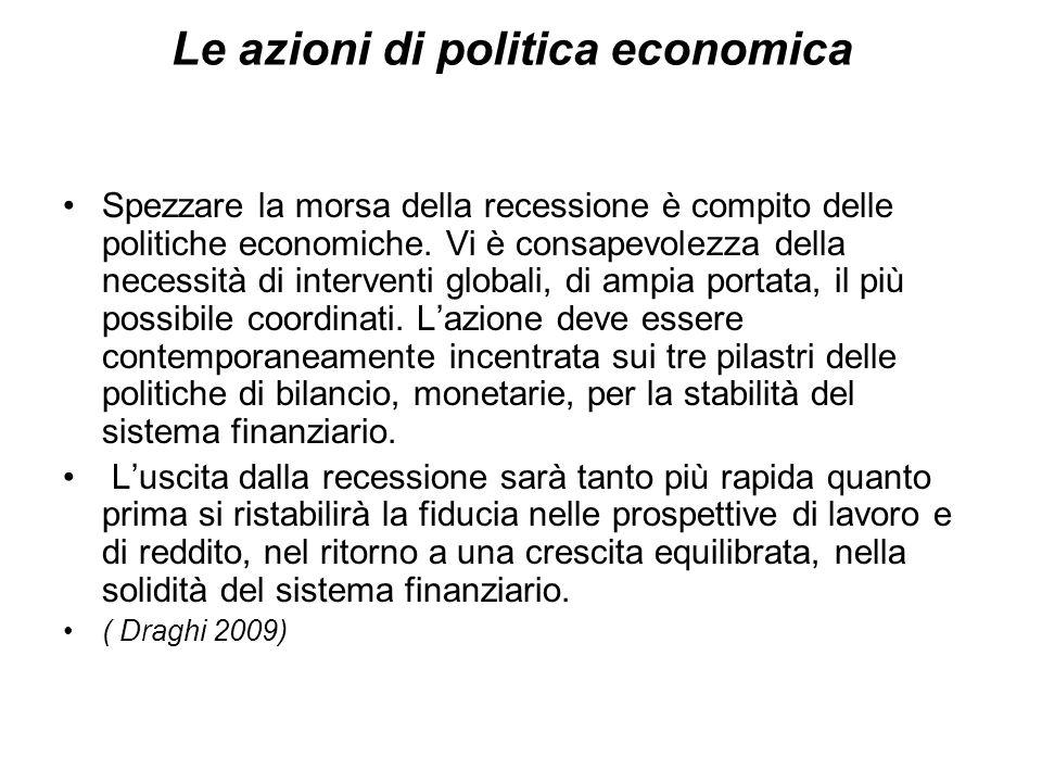 Le azioni di politica economica Spezzare la morsa della recessione è compito delle politiche economiche.