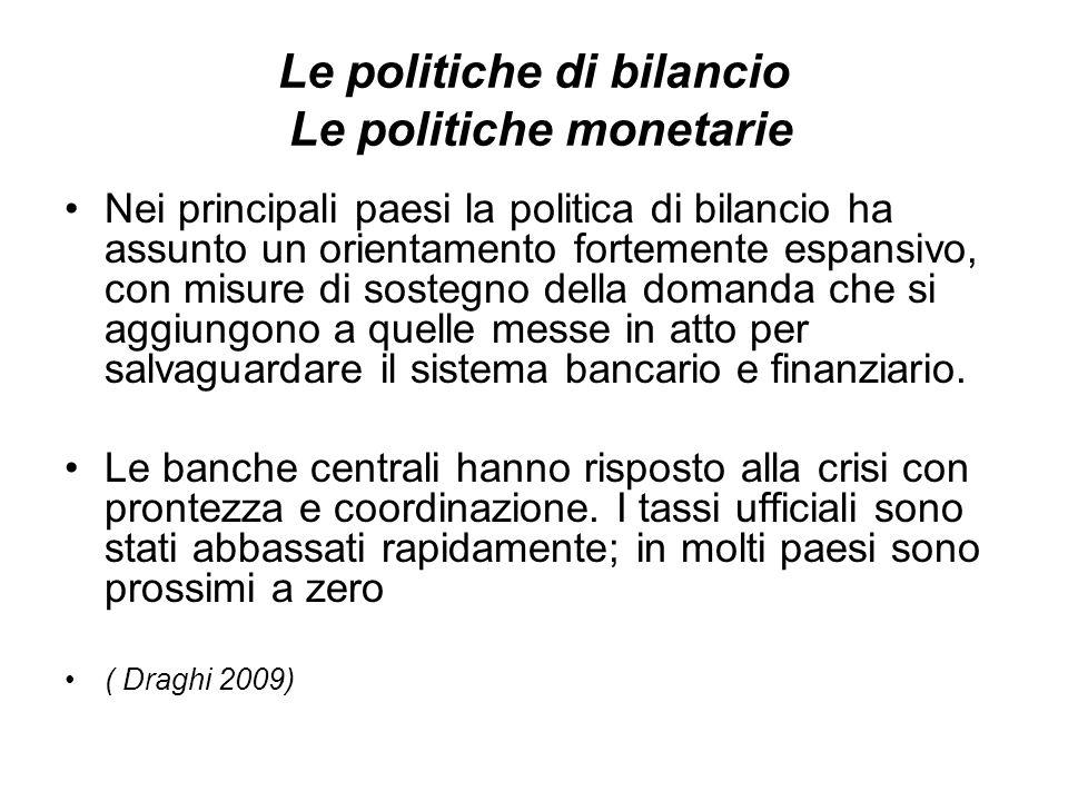 Le politiche di bilancio Le politiche monetarie Nei principali paesi la politica di bilancio ha assunto un orientamento fortemente espansivo, con misure di sostegno della domanda che si aggiungono a quelle messe in atto per salvaguardare il sistema bancario e finanziario.