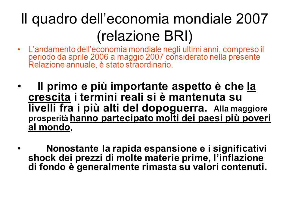 Il quadro dell'economia mondiale 2007 (relazione BRI) L'andamento dell'economia mondiale negli ultimi anni, compreso il periodo da aprile 2006 a maggio 2007 considerato nella presente Relazione annuale, è stato straordinario.