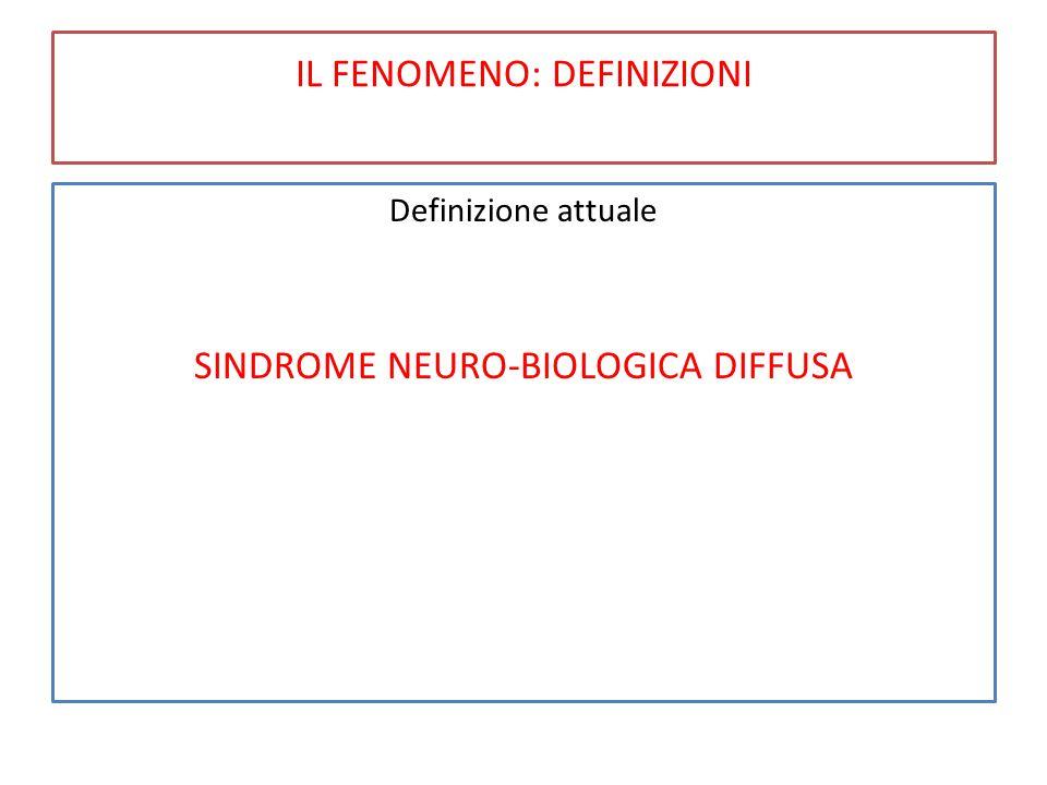 IL FENOMENO: DEFINIZIONI Definizione attuale SINDROME NEURO-BIOLOGICA DIFFUSA