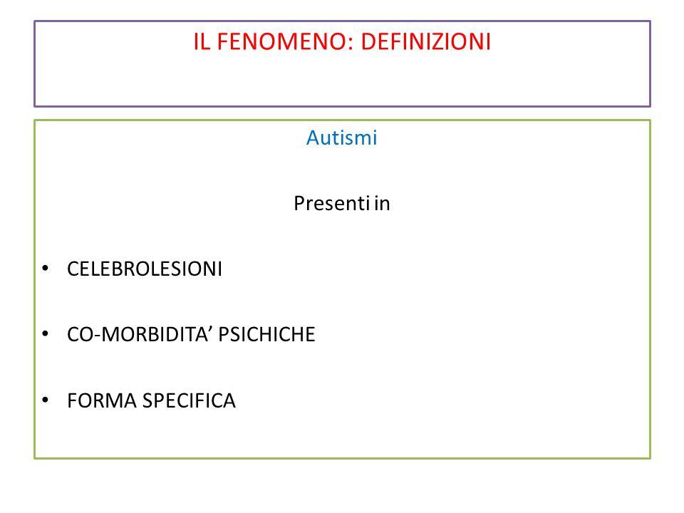 IL FENOMENO: DEFINIZIONI Autismi Presenti in CELEBROLESIONI CO-MORBIDITA' PSICHICHE FORMA SPECIFICA