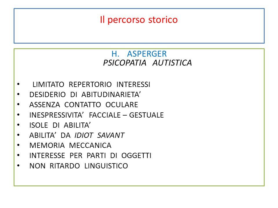 Il percorso storico H.ASPERGER PSICOPATIA AUTISTICA LIMITATO REPERTORIO INTERESSI DESIDERIO DI ABITUDINARIETA' ASSENZA CONTATTO OCULARE INESPRESSIVITA' FACCIALE – GESTUALE ISOLE DI ABILITA' ABILITA' DA IDIOT SAVANT MEMORIA MECCANICA INTERESSE PER PARTI DI OGGETTI NON RITARDO LINGUISTICO