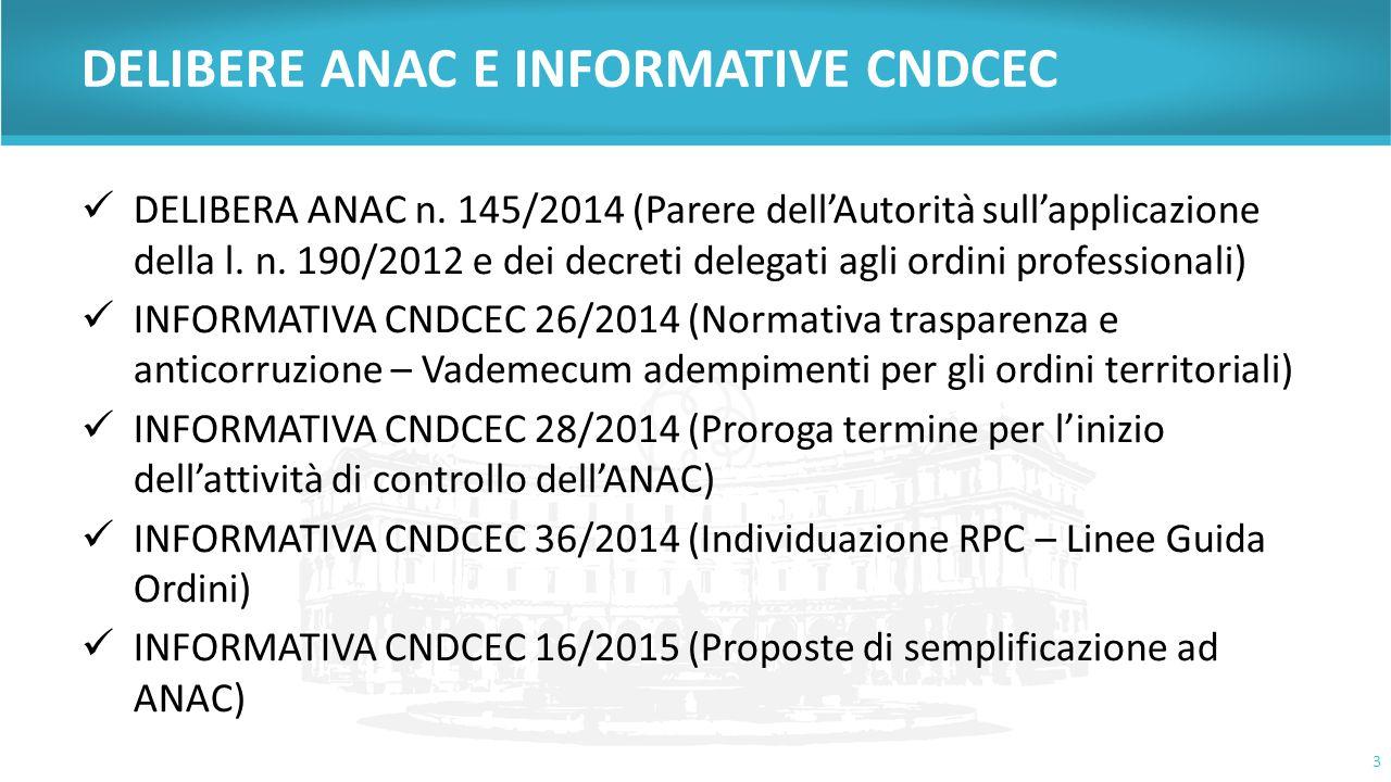 DELIBERE ANAC E INFORMATIVE CNDCEC DELIBERA ANAC n. 145/2014 (Parere dell'Autorità sull'applicazione della l. n. 190/2012 e dei decreti delegati agli