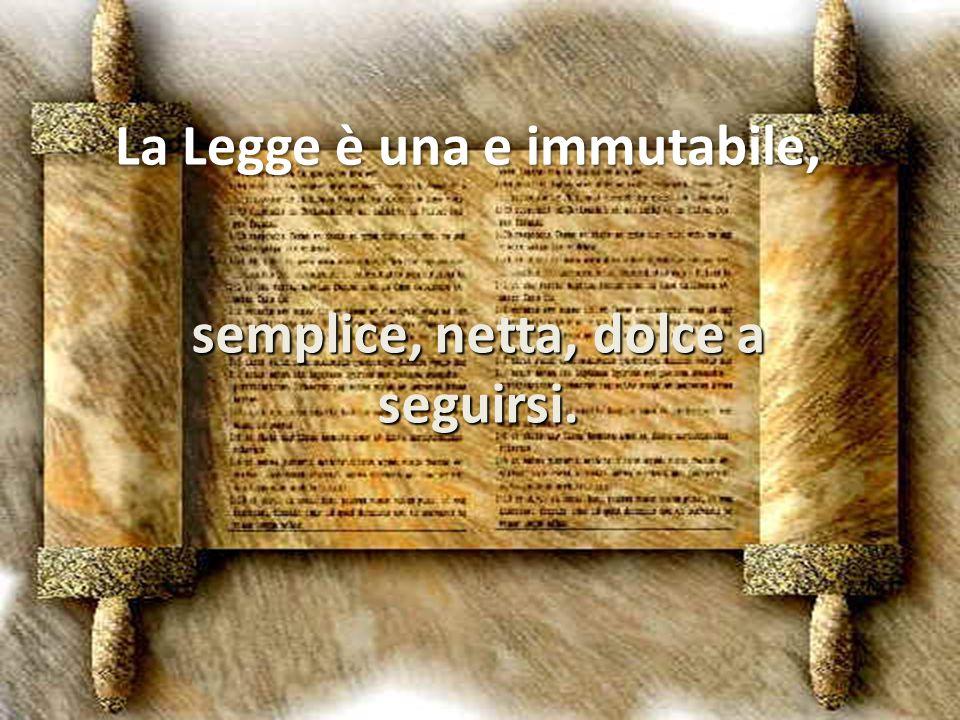 La Legge è una e immutabile, semplice, netta, dolce a seguirsi.