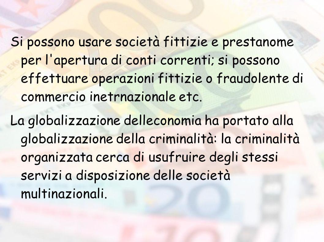 Si possono usare società fittizie e prestanome per l'apertura di conti correnti; si possono effettuare operazioni fittizie o fraudolente di commercio