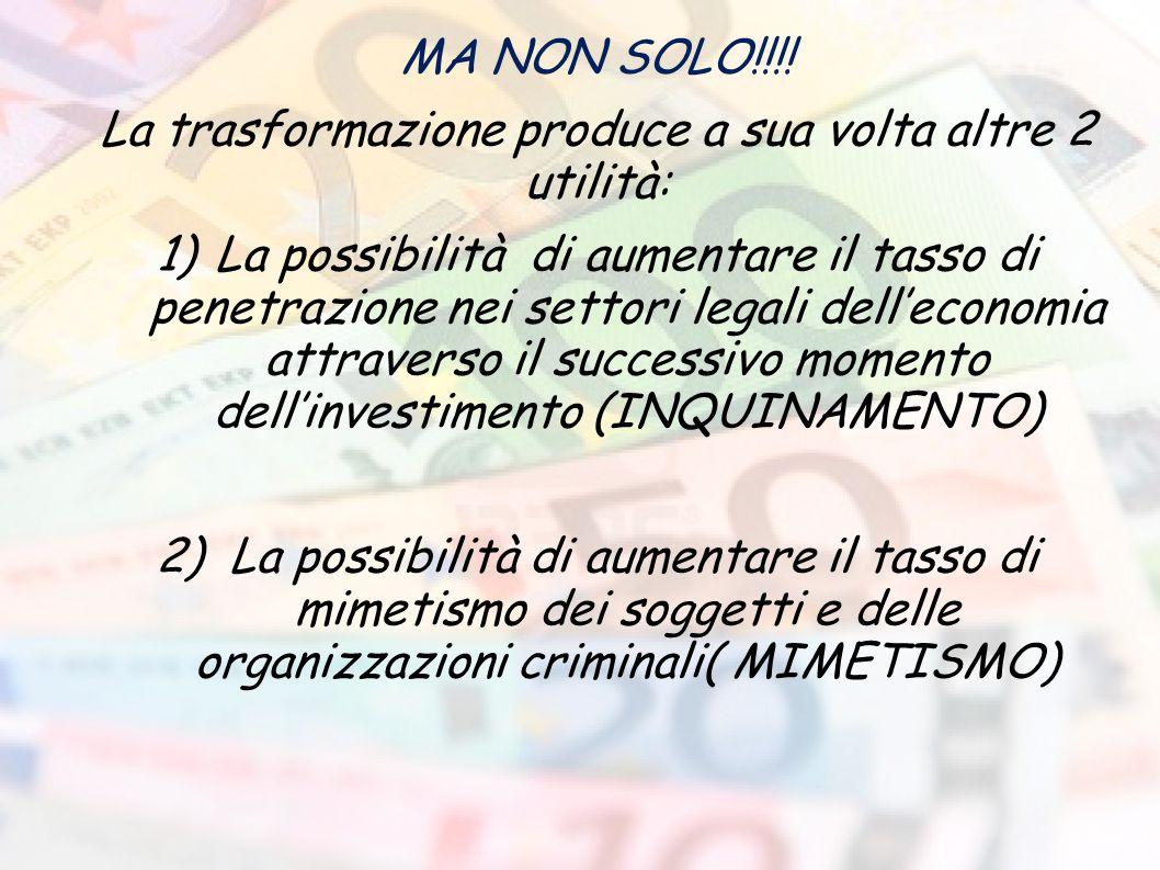 MA NON SOLO!!!! La trasformazione produce a sua volta altre 2 utilità: 1)La possibilità di aumentare il tasso di penetrazione nei settori legali dell'