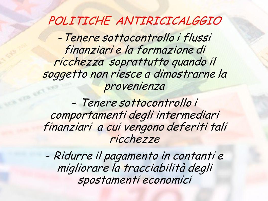 POLITICHE ANTIRICICALGGIO -Tenere sottocontrollo i flussi finanziari e la formazione di ricchezza soprattutto quando il soggetto non riesce a dimostra