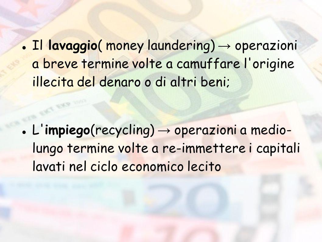 Il lavaggio( money laundering) → operazioni a breve termine volte a camuffare l'origine illecita del denaro o di altri beni; L'impiego(recycling) → op