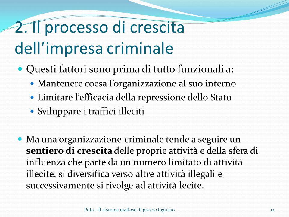 2. Il processo di crescita dell'impresa criminale Questi fattori sono prima di tutto funzionali a: Mantenere coesa l'organizzazione al suo interno Lim