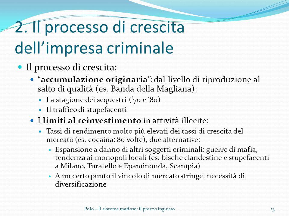 """2. Il processo di crescita dell'impresa criminale Il processo di crescita: """"accumulazione originaria"""": dal livello di riproduzione al salto di qualità"""